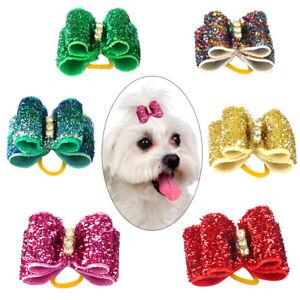20/50/100pcs Glitter Dog Hair Bows Topknot Cat Headdress Decoration Rubber Bands