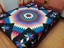 Queen size Machine Pieced quilted Star patchwork quilt #J-95