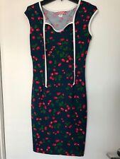 Pinup Couture Navy Cherry Print Dress - Size Medium
