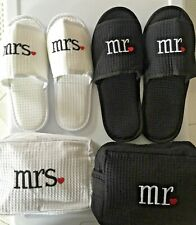 Mr. & Mrs. Black & White Matching Spa Slippers & Toiletry Bag Gift Set
