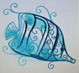 AQUA MARINE FISH BLUE BATHROOM SET HAND TOWELS EMBROIDERED