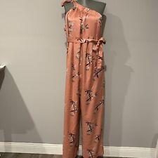 Jessica Simpson Maternity Pink Floral One Shoulder Jumpsuit Size Medium