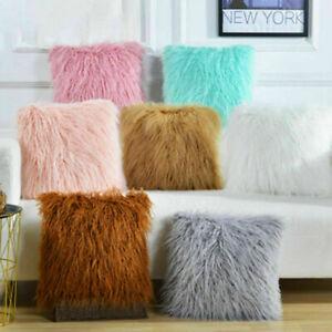 Soft Plush Throw Pillow Case Fluffy Plush Sofa Cushion Cover Home Decor 43x43cm