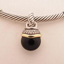 David Yurman 14K & Silver 5 mm Cable Necklace Onyx Diamond Pendant - Very Good