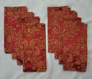 8 Waterford Ruby Red Gold Jacquard Damask Napkins Hollywood Regency Cotton Blend