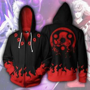 Uchiha Madara Sharingan Hoodie Casual Cosplay Jacket Full-Zip Hooded Sweatshirt