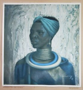 VINTAGE MID-CENTURY RETRO PRINT BY TRETCHIKOFF - WOMAN OF THE NDEBELE    P272