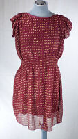 Maisy Fit & Flare Red Chiffon Gold Spotty Polka Dot Short Summer Dress T2  8 10