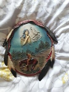 American Indian Themed Wall hanging Plaque approximately 10 x 9 inch in  (L2).