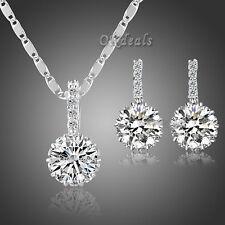 Women Sterling White Gold Plated Zircon Crystal Zircon Earrings Wedding Jewelry