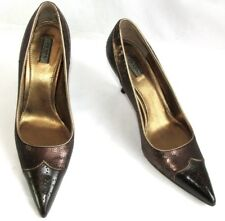 PRADA Escarpins talons 7.8 cm cuir marron sequins 37  COMME NEUF BOITE DUST BAG