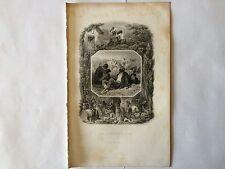 GRAVURE LES HIRONDELLES 1851 LEMUD BERANGER EN TRES BON ETAT