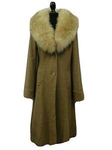 Ladies Vintage Tweed Overcoat Fur Collar Size 8