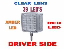 39 LED Reflector Double Face Turn Signal (L/H) Amber/Red w/Clear   Semi Truck