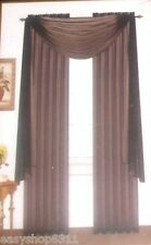 3 PIECE SOLID VOILE SHEER WINDOW PANELS & SCARF COMPLETE SET  NEW IN BAG