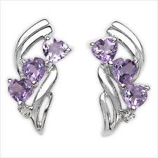 Diamant Ohrringe-925 Silber-Rhodin.-mit Amethyst-Herzen
