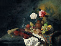 """Dream-art oil painting still life violin fruits rose flowers conch canvas 36"""""""