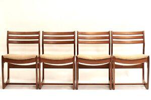 Set Of 4 Mid Century Modern Portwood Teak Dining Chairs