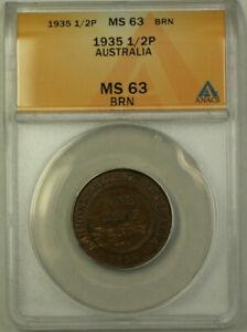 1935 Australia Half Penny 1/2p Copper Coin ANACS MS-63 BRN