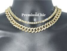 Tennis Chain + Miami Cuban Choker - Mens Hip Hop Quavo Necklace Link COMBO SET