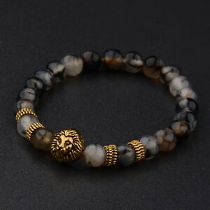 Fashion 8MM Men's Natural Stone Gold/Silver Lion Buddha Beaded Charm Bracelets