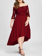 Plus Size XL-5XL Women Dress Off Shoulder High Low Lace Evening Party Dress