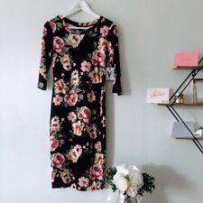 Vibe | black pink rose print midi quarter sleeve bodycon dress medium NWT