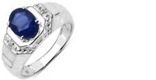 Anillo De Plata 925 con Cristal Con Zafiro Oval & Diamante Blanco Redondo S/C