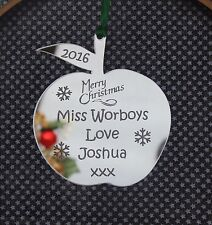 Personalised Teachers Apple Christmas Decoration Gift SILVER MIRROR