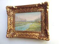 Tableautin ancien Impressionniste Paysage au canal Huile sur carton