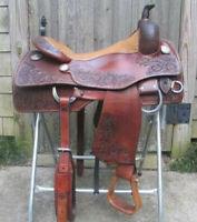 """Western saddle 16"""" on eco-leather buffalo reddish brown with drum eye finish"""