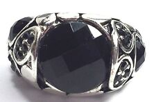 Women Silver Metal Black Onyx Type Ring Jewelry Elastic Band One Size Fits All