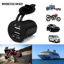 For Car Boat Motorcycle 12-24V Dual USB Port Charger Power Adaptor Universal