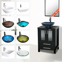 "24"" Black Bathroom Vanity With Vessel Sink Set Cabinet  Faucet Drain Combo"
