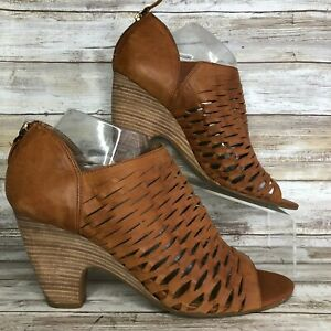 Franco Sarto Salito Womens Brown Leather Ankle Bootie Cutouts Open Toe Heel 11M
