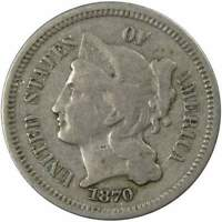 1870 Three Cent Piece F Fine Nickel 3c US Type Coin Collectible