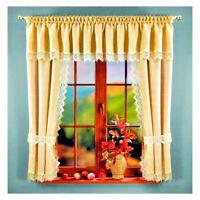 Curtains lainen colour Kitchen Ready Made Windows Decor Coffee Panels  Set