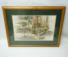 Judy Buswell Signed Framed Matted Watercolor Print (c)'87 1987 Flower Cart