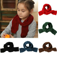 Cute Boys Girls Baby Kids Children Knitted Scarf Autumn Winter Warm Solid Scarf