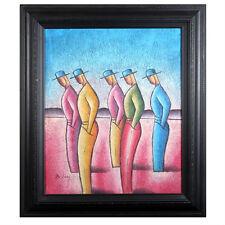Sans titre (Cinq hommes Facing gauche) par B. Long Signée abstrait acrylique