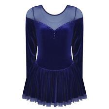 Women Velvet Mesh Skirt Ice Figure Skating Ballet Dance Gymnastics Leotard Dress