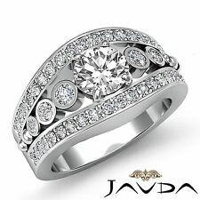 1.75ct Round Cut Diamond Halo Bezel Set Engagement Ring GIA F VS2 14k White Gold