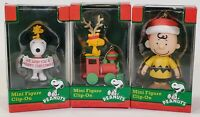 Lot Of 3 2012 Peanuts Mini Figure Clip On Christmas Ornament Snoopy Charlie