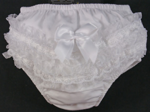 Frilly BOW knickers pants baby girl Spanish nappy cover TUTU lace christening