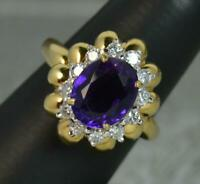 Heavy 18 Carat Gold Amethyst and Diamond Cluster Ring
