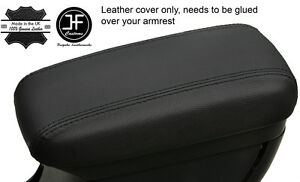 BLACK STITCHING REAL LEATHER ARMREST COVER FITS KIA RIO MK3 2012-2017