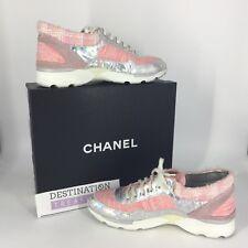 Chanel Runway Supermarket Sneakers Pink Tweed Metallic Leather Sz 41 Euro 10 US
