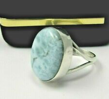 Blue Gem Natural Size 5 1/2(7.2g)#18 Ring Dominican Larimar And Silver 925 Stone
