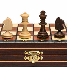 """Magnetic Wooden Tournament Travel Chess Set - 10.5"""""""