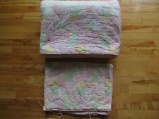 "Pottery Barn Kids Quilt Twin Reversible & Pillow Sham Pink Green Yellow 68""X83"""
